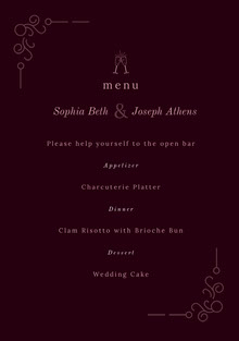 Pink and Black Wedding Menu Menú de bodas