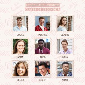 Pink High School Students Photo Organisation Chart Standard Square foto de clase
