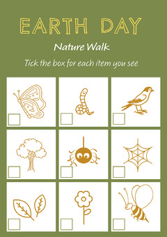 Green and Yellow Earth Day Nature Walk Worksheet Nature