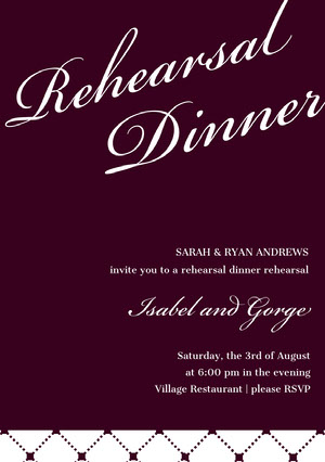 Dark Red Elegant Rehearsal Dinner Invitation Card Rehearsal Invitation