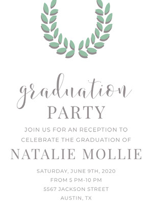 Silver and Green Graduation Party Invitation Card with Laurel Wreath Invitación de graduación