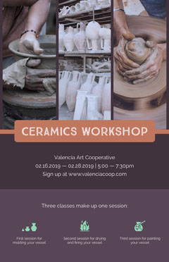 Warm Earthy Tones Ceramics Workshop Flyer with Collage Educational Course