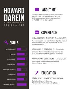 Gray and Purple Accountant Resume Purple