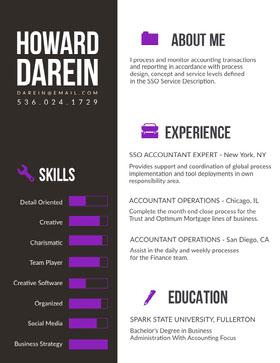 Gray and Purple Accountant Resume Resume