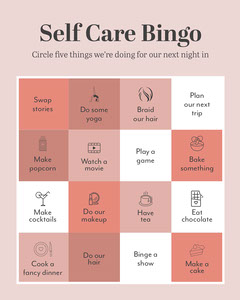 pink white black self care bingo interactive instagram portrait  Movie Night Flyer