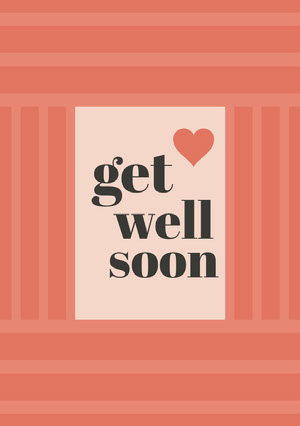 Red Get Well Soon Card with Heart God bedring-kort