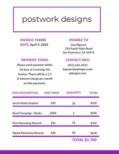 Purple Graphic Design Studio Invoice Designer