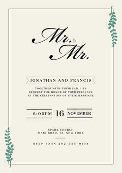 Leafs Frame LGBT Wedding Invite Frame