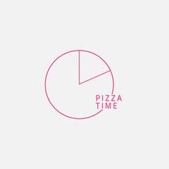 Red and White, Minimalistic Circle, Pizza Logo  Pizza