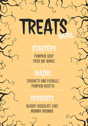 Yellow and Black Spooky Trees Halloween Party Menu Festa di Halloween