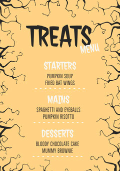 Yellow and Black Spooky Trees Halloween Party Menu Halloween Party Menu