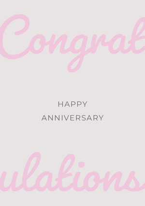 Pink Elegant Calligraphy Happy Marriage Anniversary Card Biglietto di congratulazioni