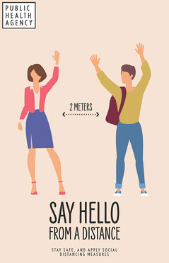 Beige Illustrative Say Hello Poster Health Poster