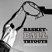 Black and White Basketball Tryouts Social Post Basketball