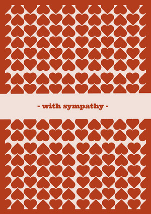 Red and Pink Heart Pattern Sympathy Card Sympatikort