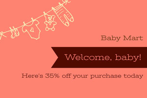 Black and Pink Gift Card Baby Shower Card