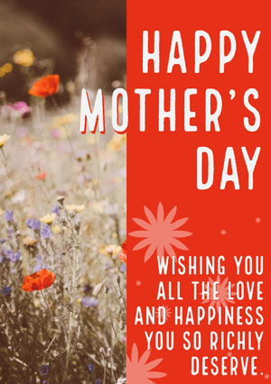 Red and White Happy Mother's Day Card Biglietto di auguri per la Festa della mamma
