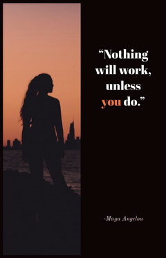 Black With Silhouette Of Woman Quote Poster Sunset