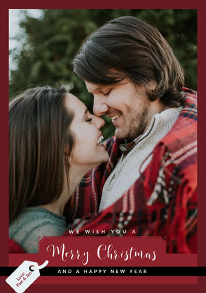 Red Framed Couple Christmas Card  Christmas Greetings