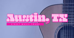 Pink Austin Texas Travel and Tourism Facebook Post Ad with Guitar Travel Agency