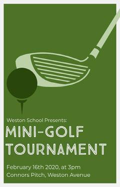 Green Illustrated Mini Golf Tournament Flyer Golf Tournament Flyer