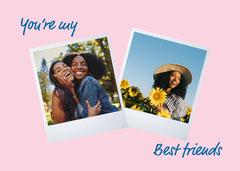 blue pink white friendship your my best friend card Friends