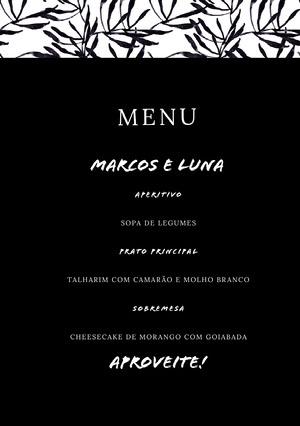 black and white wedding menu  Menu