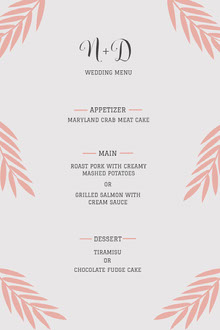 Pink and White Minimalistic Wedding Dinner Menu  Menu bruiloft