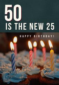 Happy 50th Birthday Card with Cake and Candles Geburtstagskarte mit Zitat