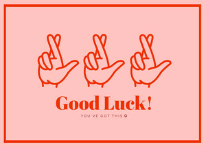 Pink and Red Good Luck Card Good Luck Card