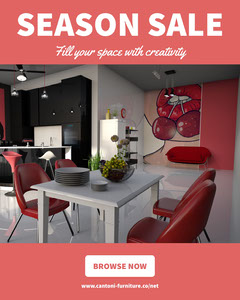 Pink and White With Modern Interior Social Post House For Sale Flyer