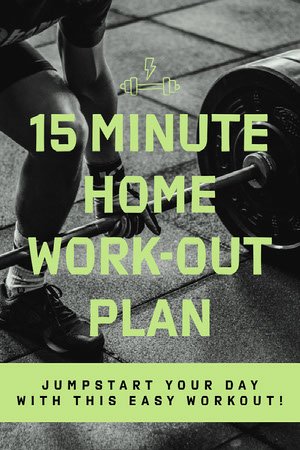 Green and Gray Workout Plan Pinterest Graphic with Barbell COVID-19 Re-opening