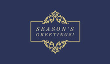 Navy Blue and Gold Seasons Greetings Gift Tag Tarjetas