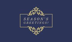 Navy Gold Seasons greetings gift tag Gift Card