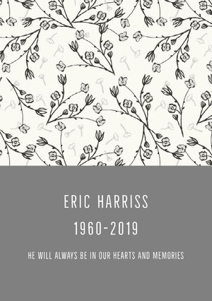 ERIC HARRISS 1960-2019 Funeral Thank You Card