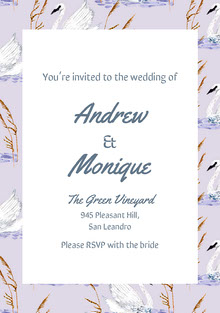 Violet and White Wedding Invitation Wedding Invitation