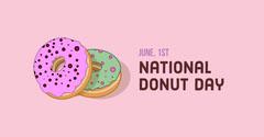 Pink Illustrated National Donut Day Instagram Landscape Graphic Donut