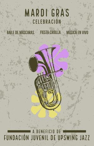 mardis gras celebration event poster  Cartel de evento