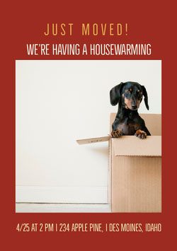 Claret and Cute Dog Housewarming Party Invitation Housewarming Invitation