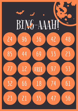 Orange and Black Bats and Moon Halloween Party Bingo Card Cartazes de jogos