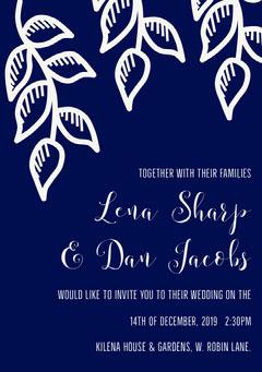Navy and White Winter Wedding Invitation Card Winter