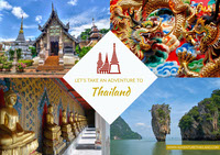 Thailand Travel Postcard with Collage Postikortit