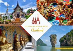 Thailand Travel Postcard with Collage Postal
