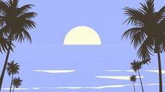 Blue Tropical Palm Trees and Sea Illustration Zoom Background Sun