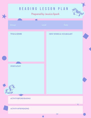 Blue and Pink Reading Lesson Plan Horario de clase
