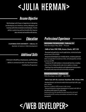 Black and White, Web Developer Resume Document  Currículum moderno