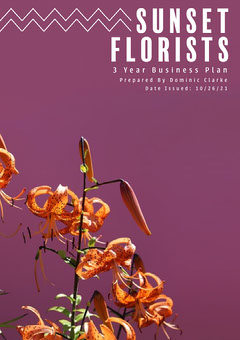 Purple Sunset Florist Business Plan Cover Sunset