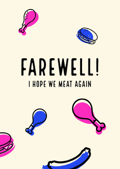 White, Pink, Blue and Black Farewell Card  Farewell