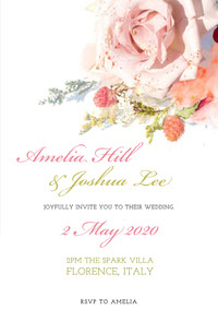 White and Pink Floral Wedding Invitation 結婚祝い