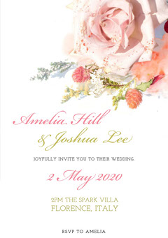 White and Pink Floral Wedding Invitation Rustic Wedding Invitation